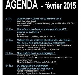 Agenda du Crem pour le mois de février 2015